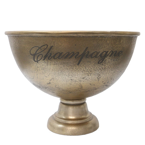 Rustic Gold French Country Shabby Chic Luxury XL Champagne Bowl Aluminium Decorative Showpiece Ornament