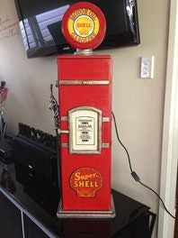 Shell Petrol Pump Bowser DVD Cabinet With Light Up Globe