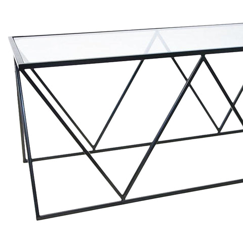 Geometric Metal Coffee Table With Glass Top