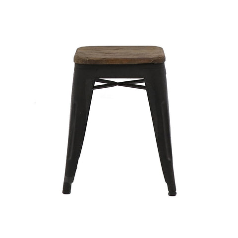 Colonial Rustic Industrial Chic Side Table / Stool Designer Elm Wood & Iron - 45cm