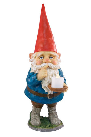 Mr Silent Night Candle Gnome Outdoor Garden Gnome Ornament - LED Light