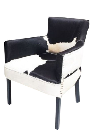 Bilboa Dining Chair / Occasional Chair Black & White Goat Hide