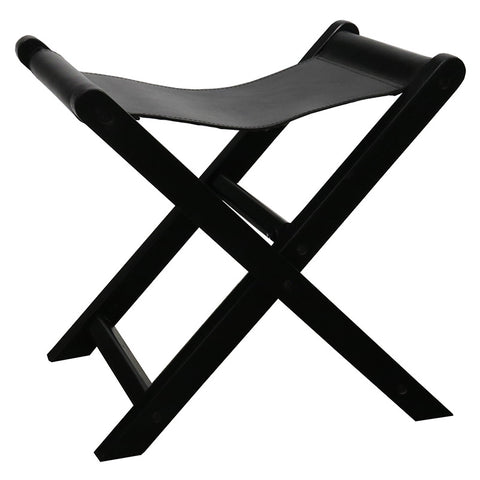 Castillo Leather & Teak Wood Black Folding Stool