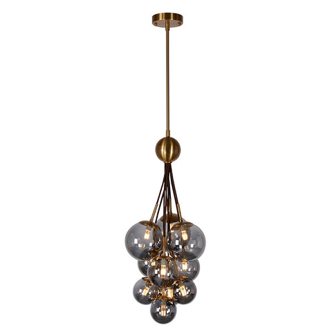 Bauble Brass & Smoke Glass Modern Chandelier / Pendant Light Lamp