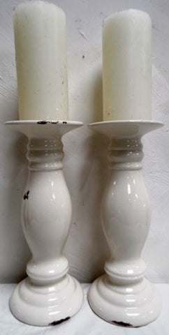 White Rustic Candleholder Candlesticks Ceramic Crackle Glaze