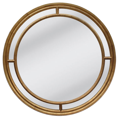 Lorenzo Exquisite Gold Country Chic Round Framed Mirror
