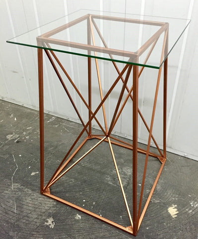 Geometric Copper Alcove Table Metal With Glass Top