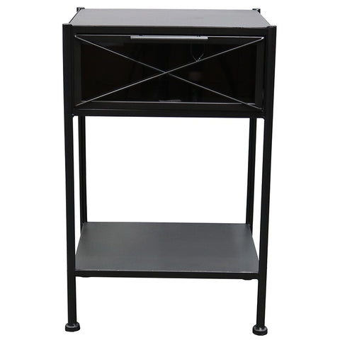 Charcoal Inglewood Iron & Glass Bedside Table / Side Table - Modern Geometric Chic