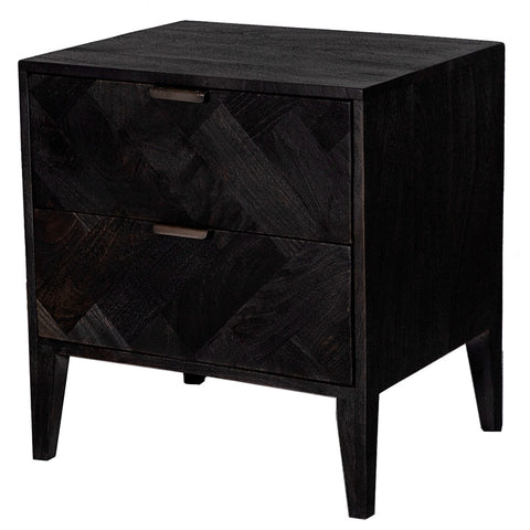 Raven Bedside Table Drawers Woven Architectural Black Sandblasted Mango Wood