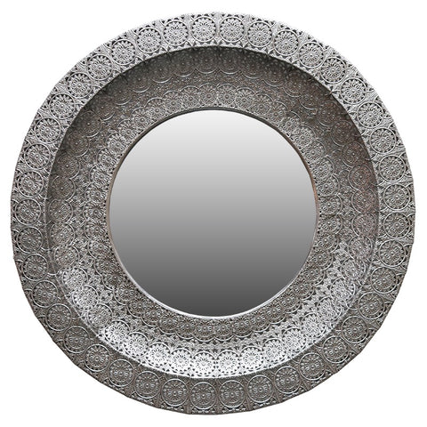 Montana Round Patterned Mirror (Silver)