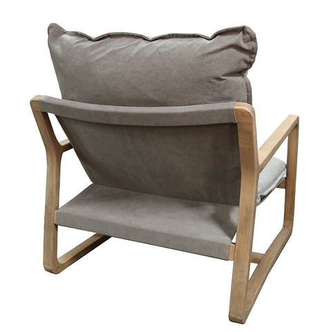 Acer Relaxed Luxury Oak & Cotton Lounge Chair