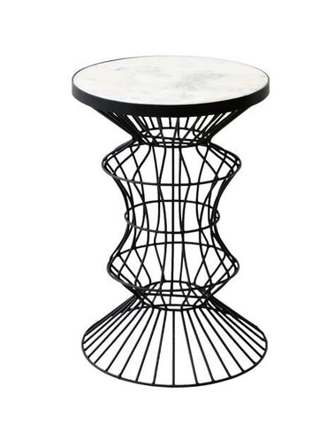 Lounge Side Table Candelabra Shape With Marble Top