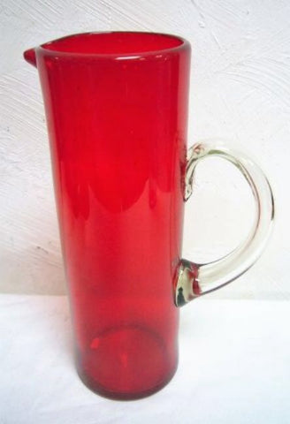 Handblown Jug Solid Mexican Glass (Red Colour) - Water, Margaritas or Juice