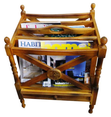 Black Wood Magazine Rack With Small Drawer - Perfect For Villas & French Chic Homes