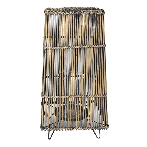 Cali Large Dark Wash Shabby Chic Rustic Rattan & Glass Lantern Decorative Ornaments x2