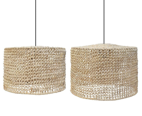 Abaca Modern Lattice Ceiling Shade Pendant Light Lamp Set