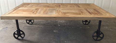 Industrial Chic Wood Coffee Table With Castor Wheels