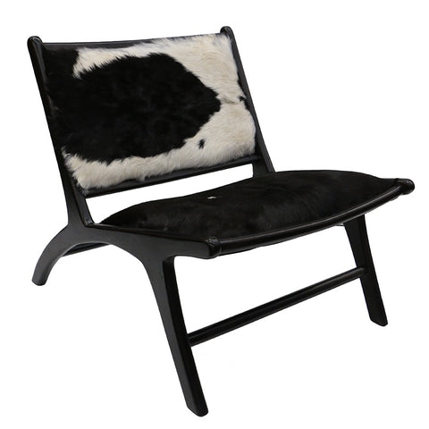 London Black Goat Hide & Teak Wood Lazy Lounge Chair
