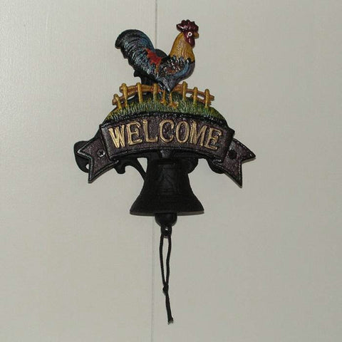 Cast Iron Rooster Door Bell Knocker Rustic Door Ornament