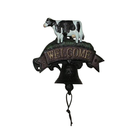Cast Iron Dairy Cow Door Bell Knocker Rustic Door Ornament