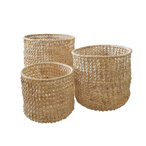 Abaca Lattice Storage Baskets With Inner Iron Frame - Kitchen, Office, Bathroom or Lounge