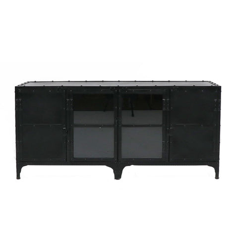 Iron Bank Black Locker Entertainment Unit Cabinet Industrial Chic