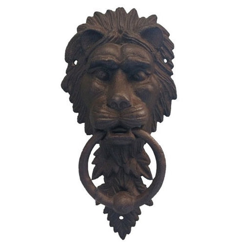 Cast Iron Lion Door Knocker Bell Rustic Door Ornament