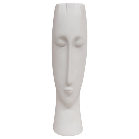 Ceramic White Female Face Vase Decorative Display Ornament