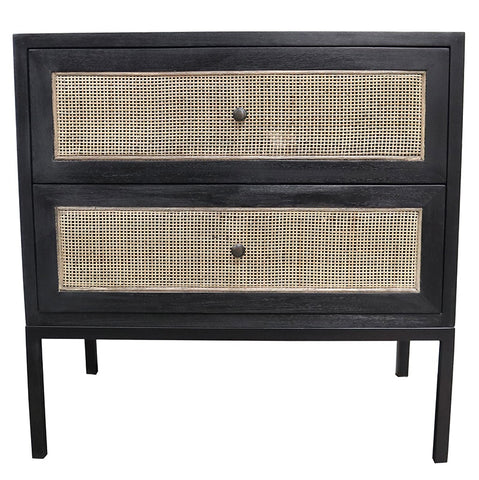 Cardrona Black Rattan Patterned Two Drawer Bedside Table Side Table