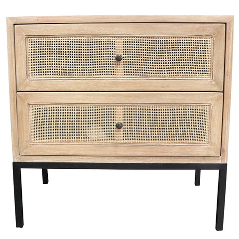 Cardrona Rattan Patterned Two Drawer Bedside Table Side Table