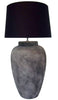 Mexican Barcelona Stone Handmade Lamp Base With Black Shade (Grey)