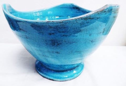 Handmade Mexican Ceramic Tulip Bowl For Salads or Decoration (Light Blue)