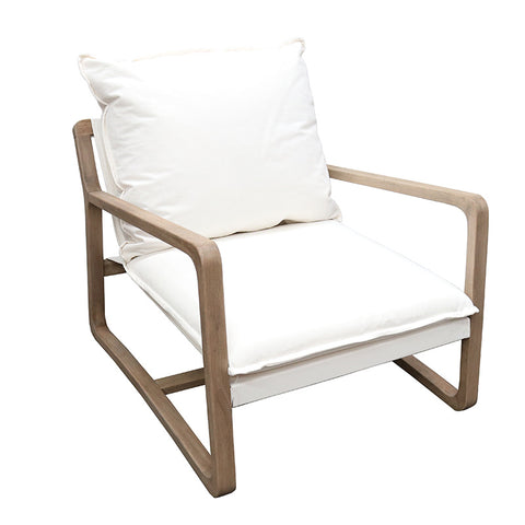 Acer Ivory Relaxed Luxury Oak & Cotton Lounge Chair