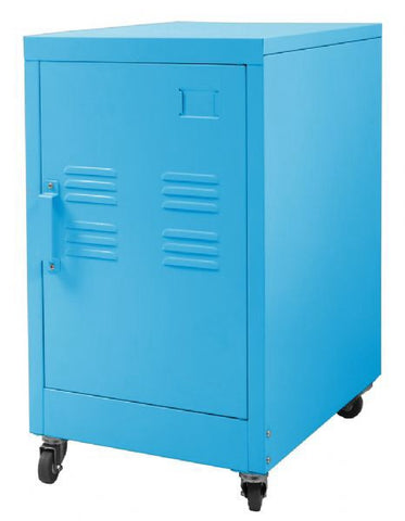 Industrial Bedside Table / Office Storage Unit With Wheels (Blue)