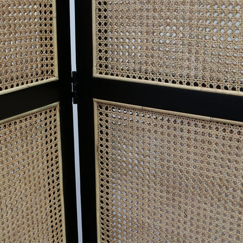 Black Teak & Rattan Unison Panel Screen Room Divider