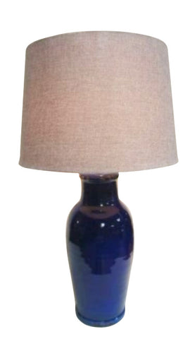 Mexican Ceramic Handmade Lamp Base With Linen Shade (Cobalt Blue)