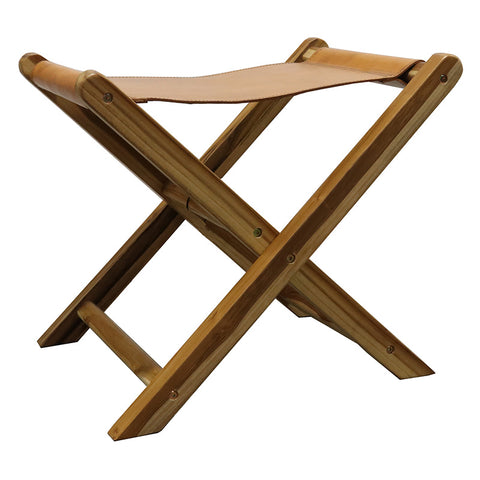 Castillo Leather & Teak Wood Tan Folding Stool