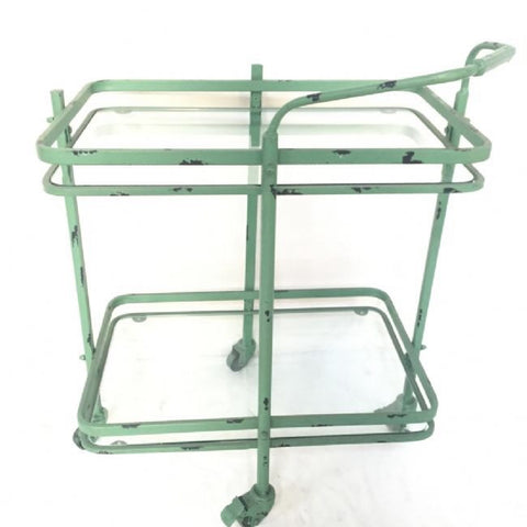 Industrial Shabby Chic Metal Vintage Serving Trolley / Side Table