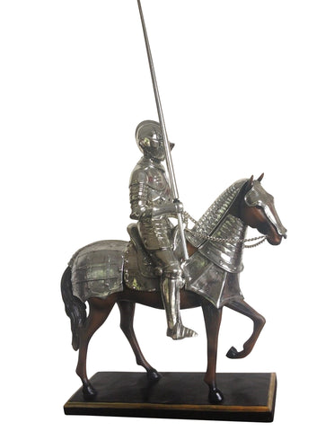 Medieval Armoured Knight On Horse With Jousting Lance