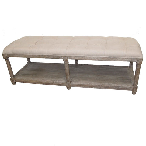 Charlotte French Country Chic Double Stool Bench Seat With Oak Legs & Bottom Shelf