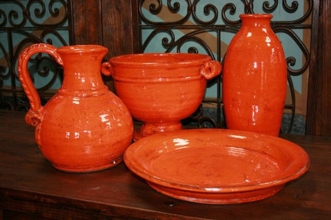 Rustic Orange Vase Crackle Glaze - Handmade in Mexico - Home of Temptations Interior Design Furniture Decor & Gifts http://www.hotdesign.co.nz