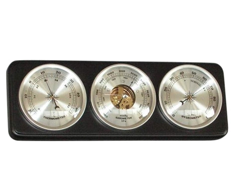 Barometer Black Wood Wall Hanging With Thermometer, Hygrometer & Internal Workings