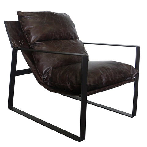 Liverpool Modern Luxury Brown Leather & Iron Lounge Chair Armchair