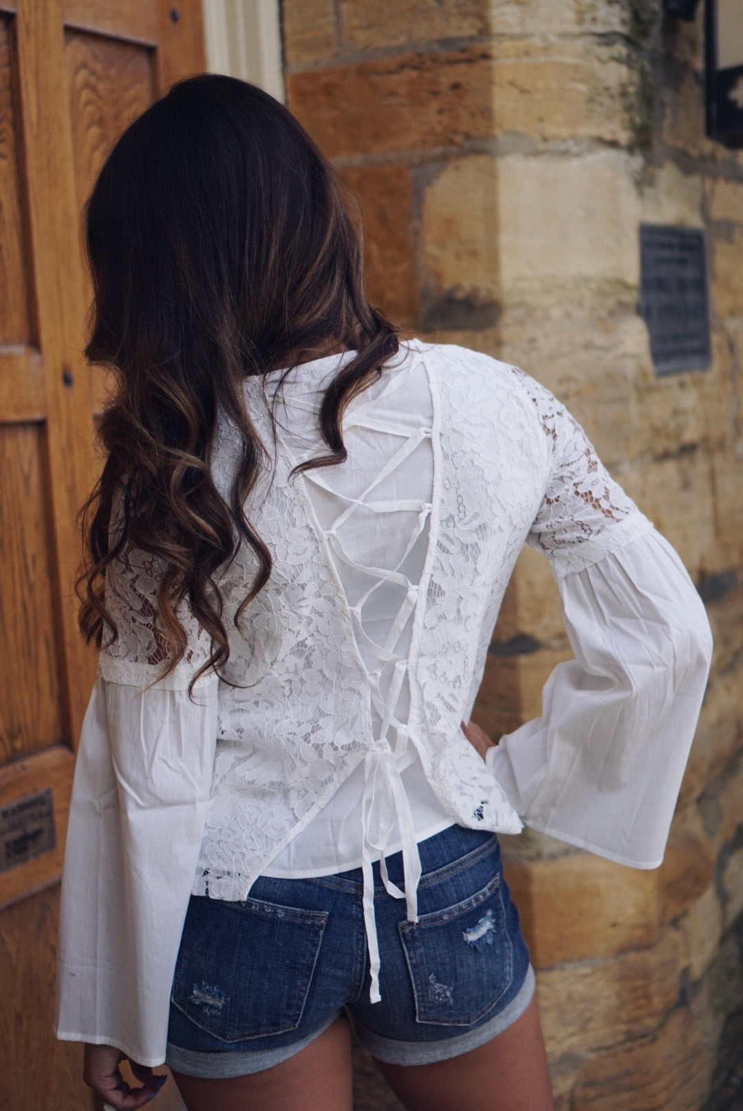 Andrea Lace Bell Sleeve Top