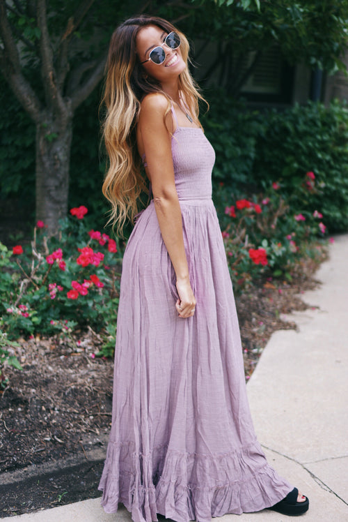 Smocked Halter Ruffle Maxi Dress
