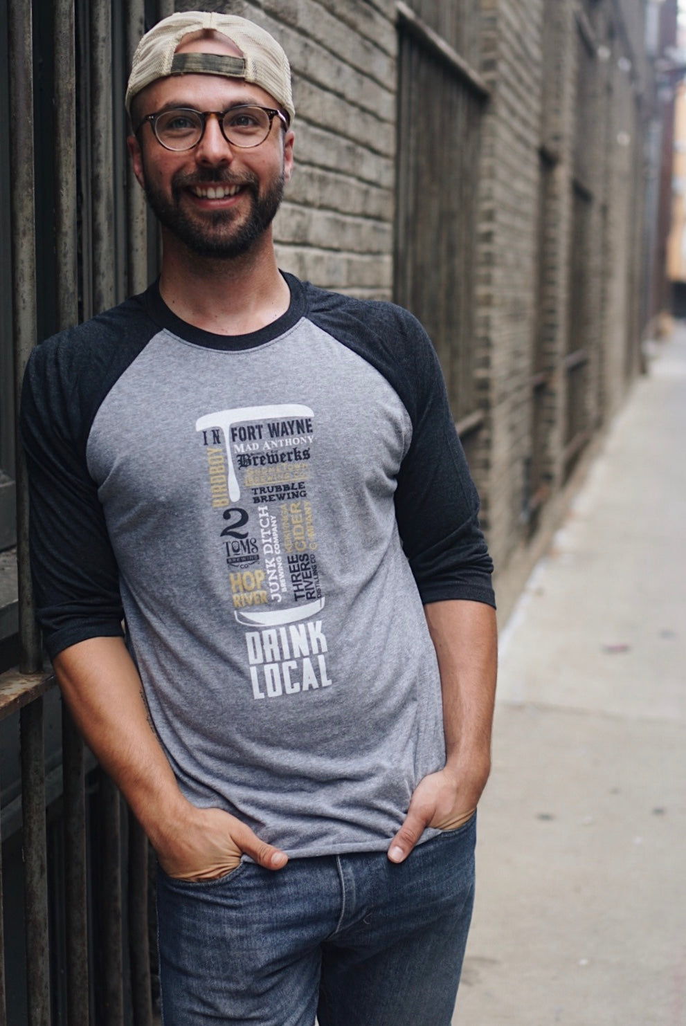 Drink Local Unisex Baseball Tee
