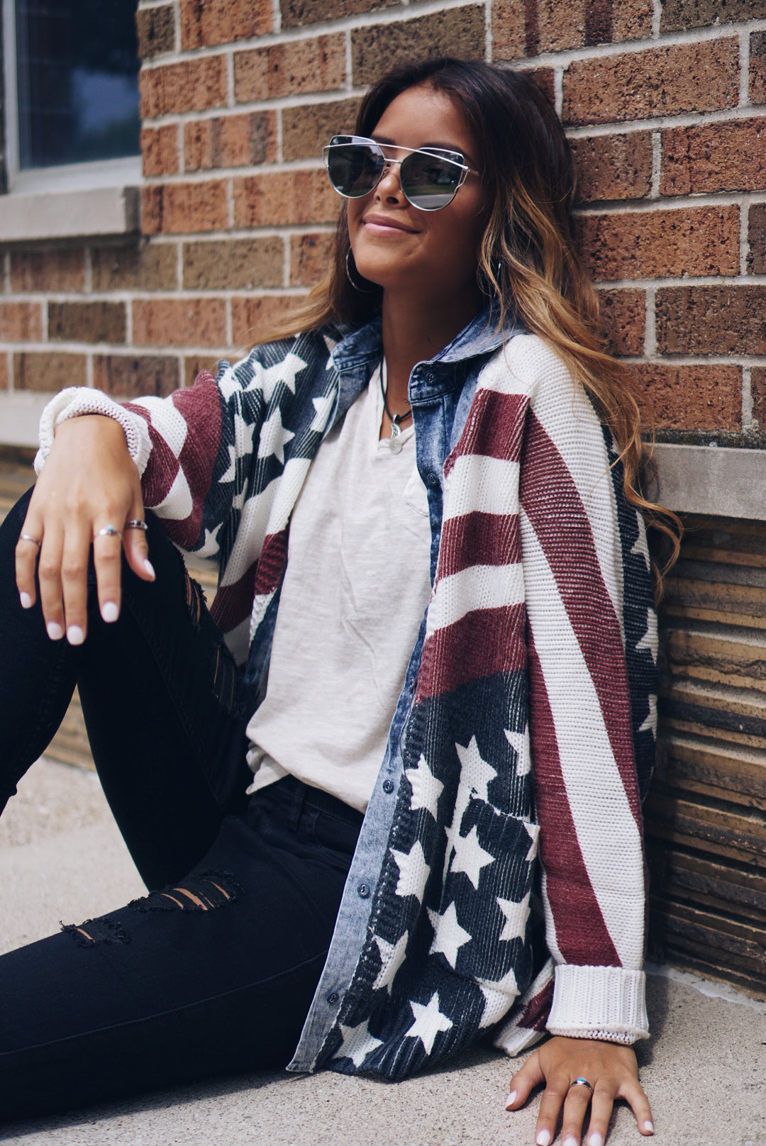 American Flag Washed Sweater Shirt