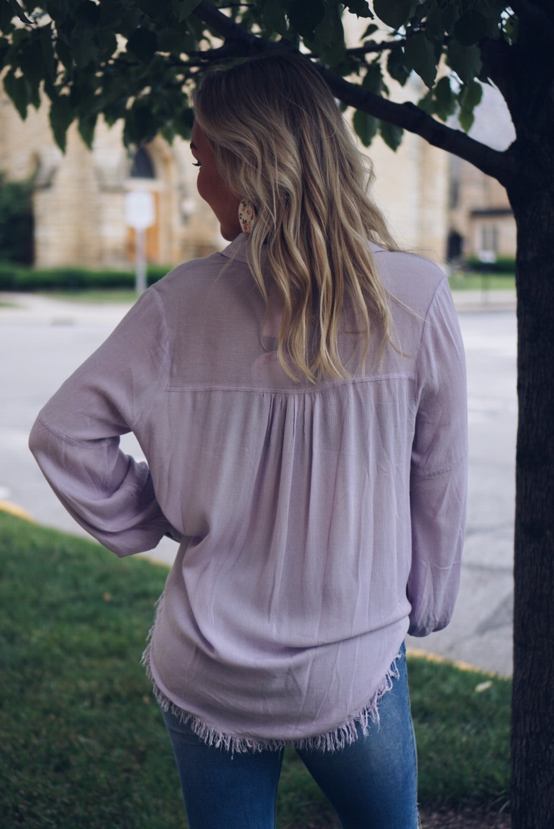 Long Sleeve Button Up with Frayed Hem