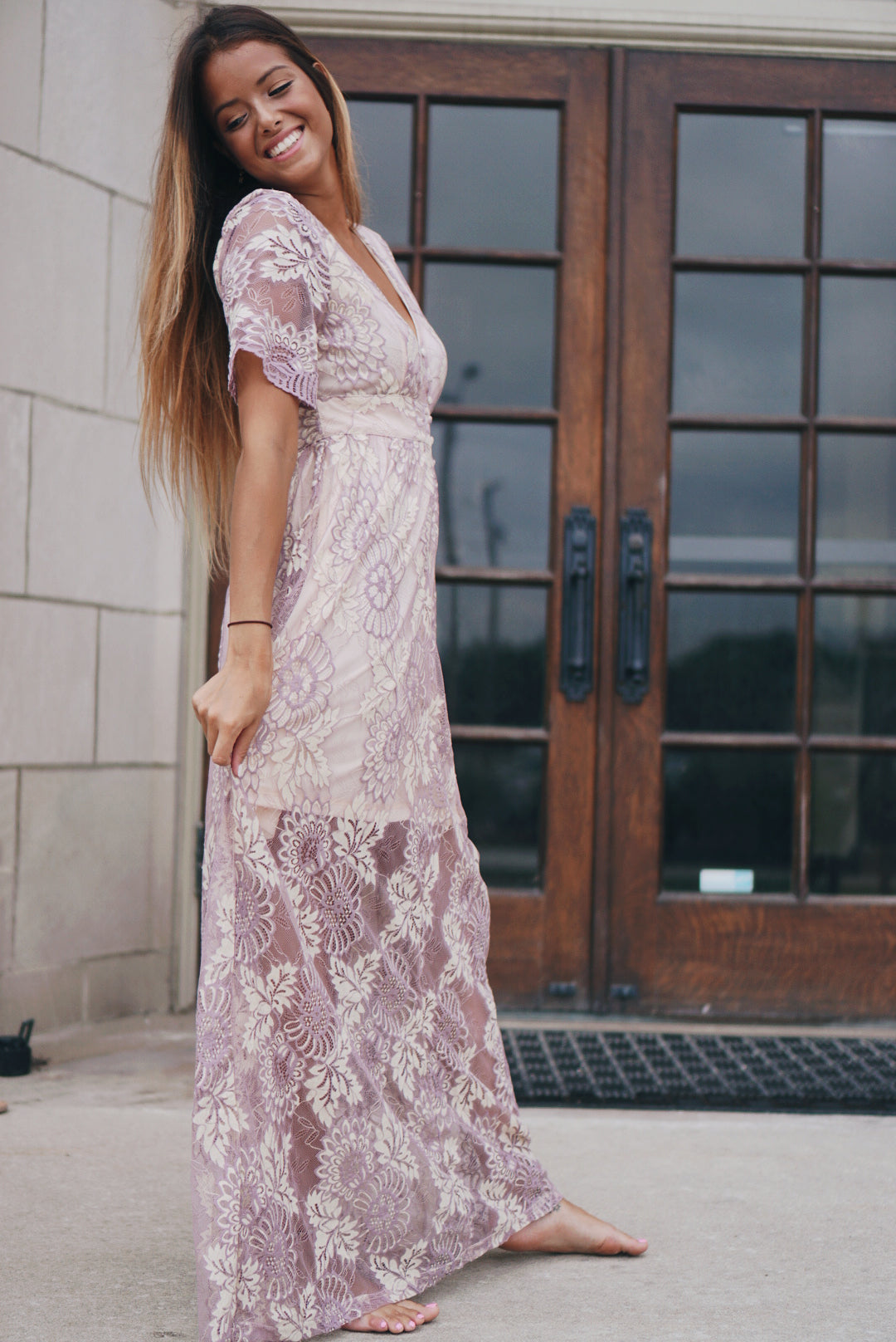 Lavender Floral Lace Dress