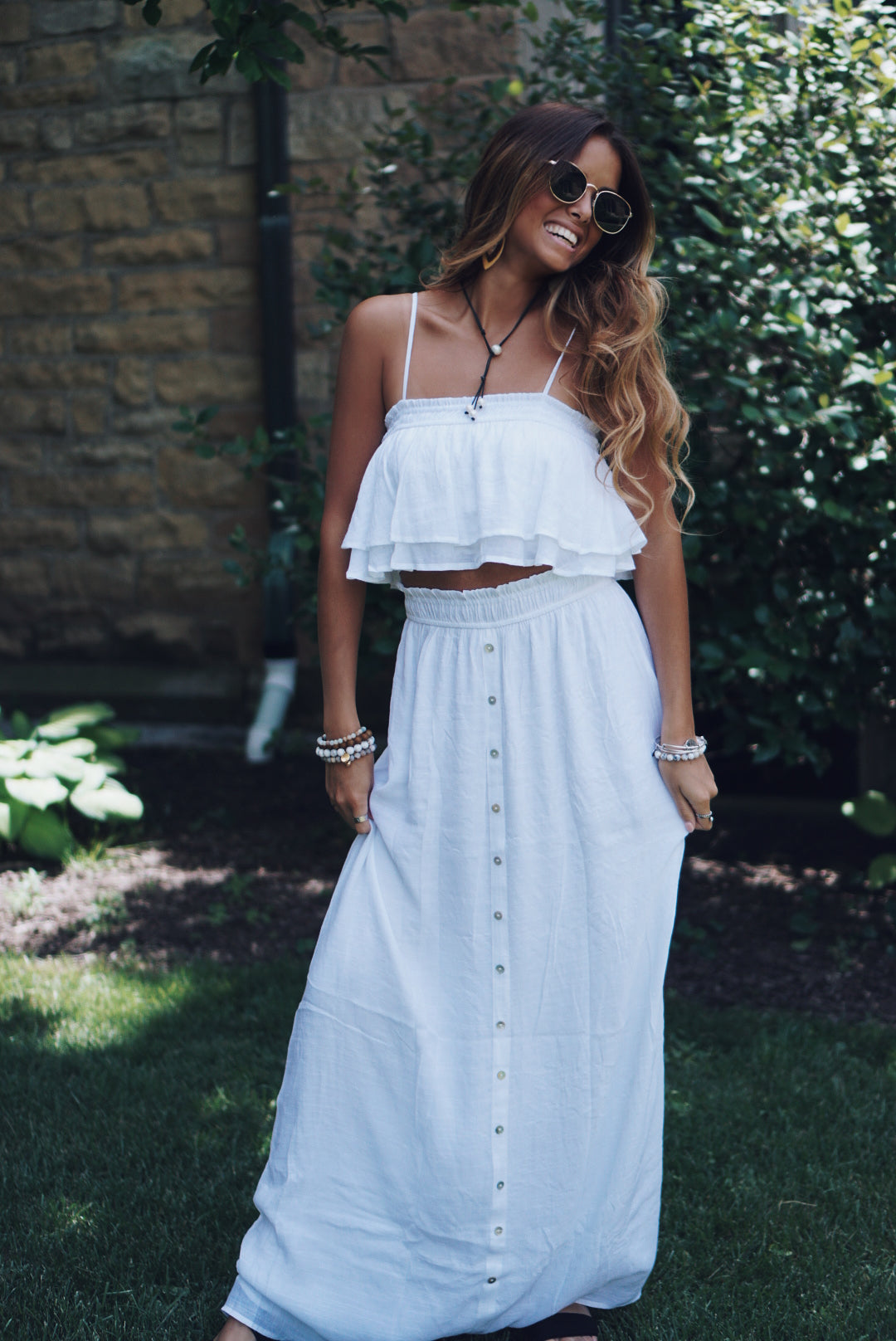 Button Down Skirt and Crop Top Set